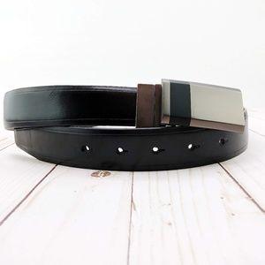 Reversible Black/Brown Leather Belt Brushed Buckle